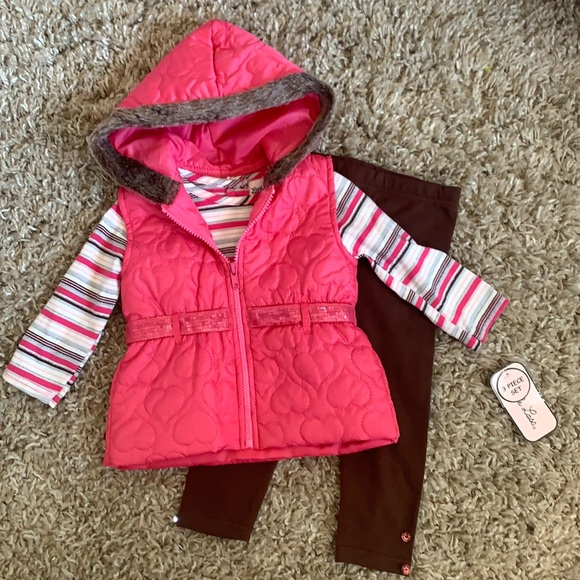 Baby girl 3 piece vest top leggings outfit NWT